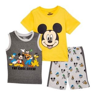 Mickey Mouse Grey Muscle Tank, Tee & Shorts Set